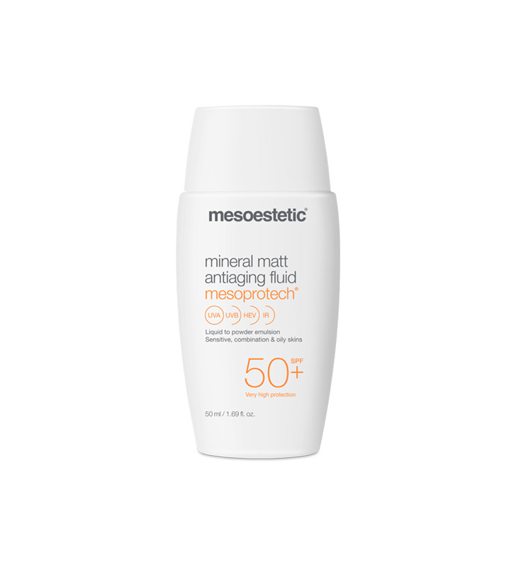 Home Performance Protección Solar. Mesoprotech Mineral Matt Antiaging Fluid 50+ - MESOESTETIC