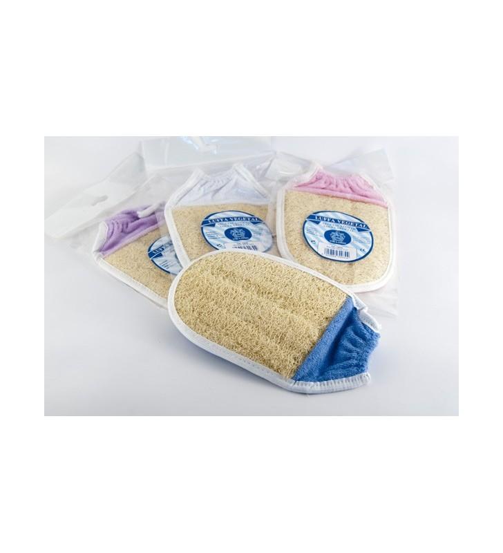 Manopla de luffa  y rizo de algodón