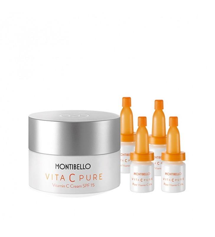 Caja Navidad. Vita Pure C. Vitamin C Cream SPF15 + Ampollas de Pure Vitamin C 8% - MONTIBELLO