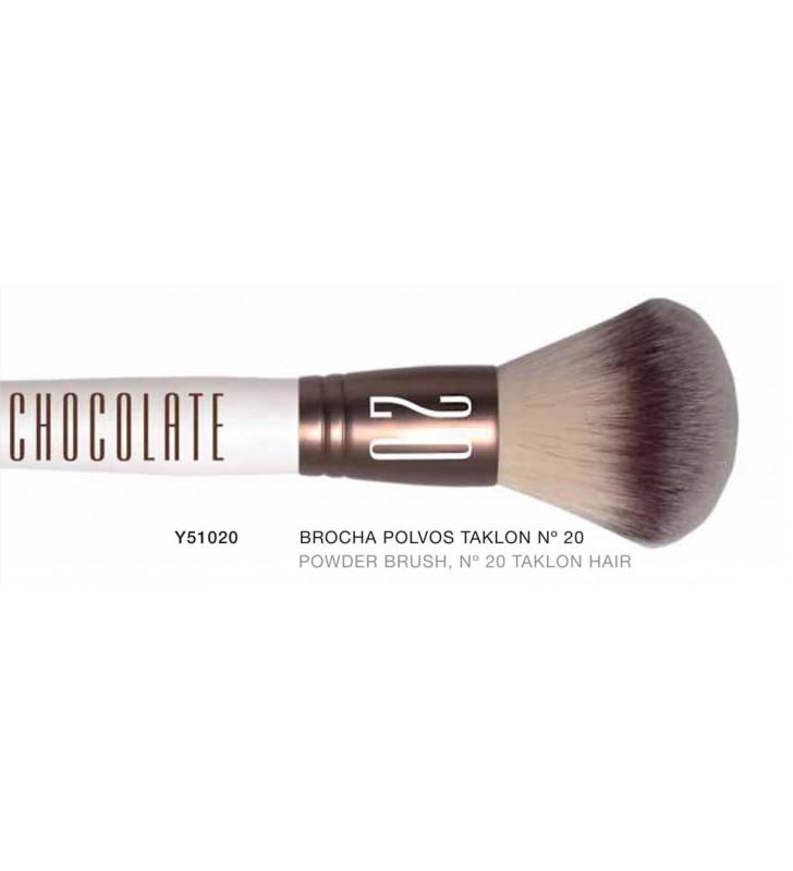 Chocolate. Brocha de Polvos con pelo de Taklon n20 Y51020