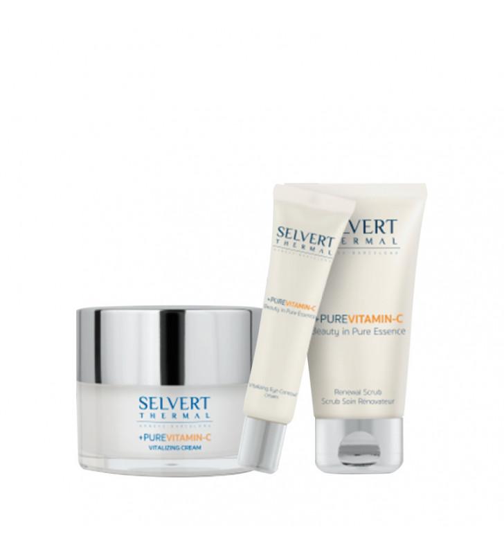 Pack + Pure Vitamin C. Vitalizing Cream + Eye Contour + Renewal Scrub - SELVERT